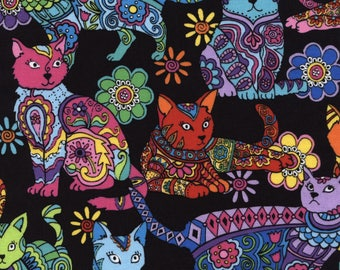 Timeless Treasures - Color Me - Cats - Multi - Fabric by the Yard C4815-MULT