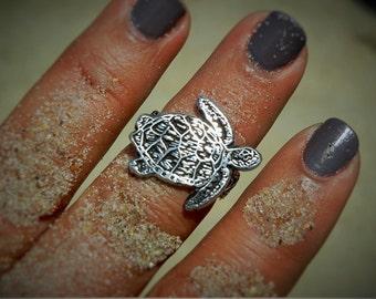 Sea Turtle Jewelry, Sea Turtle Ring, Nautical Jewelry, Beachy Sea Turtle Sterling Silver Ring Size 4 5 6 7 8 9 10 11 12 4.5 5.5 6.5 7.5 8.5