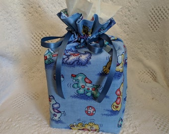 Drawstring boutique size tissue box cover.  Doggy print.