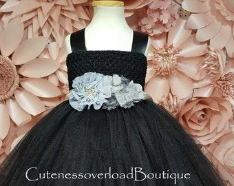 Black Girl Tutu-Black Wedding Tutu-Black Tutu Dress-Black Flower Girl Tutu Dress-Black Girl Tutu-Black Halloween Tutu-Black Wedding Tutu