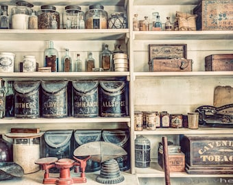 All you Need, Stocked Shelves at the Old General Store, 19th century, Old Stuff on the shelves, Fine Art Photography Print