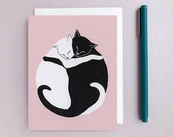 Cat Hug Card. Cat Birthday. Cat Lover. Love Card. Anniversary Card. Friendship Card. Wedding Card.