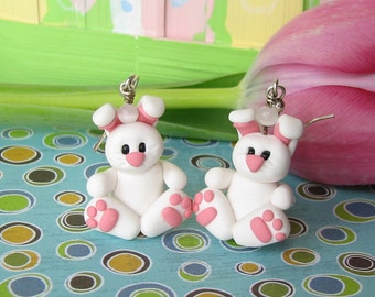 Easter Bunny Earrings made of Polymer Clay