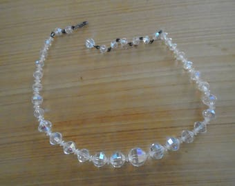 Iridescent Crystal Necklace 16 inch Vintage