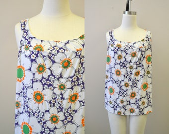 1960s Floral Print Tank Top