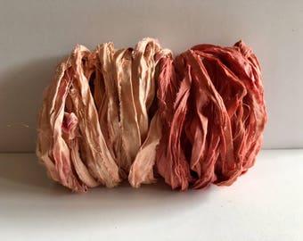 Silk Sari Ribbon-Recycled Peach & Coral Sari Ribbon-10 Yards