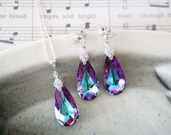 Katelyn - Jewelry Set - Swarovski Vitrail Light Purple Teardrop Crystal Necklace and Earrings, Brides Necklace, Bridal, Bridesmaids