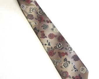 Brown Necktie Wembley Tie Floral Pattern