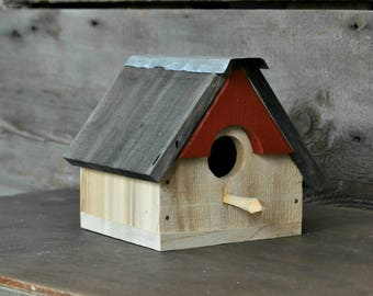 Bird House Upcycled Recycled Repurposed Outdoor Birdhouse Rustic Birdhouse Unique Birdhouses Wooden Birdhouses Bird Houses Wabi Sabi Cedar
