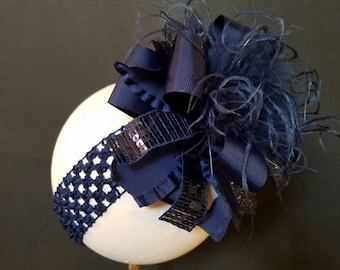 Solid Navy Over The Top Boutique Hairbow Ostrich Feather