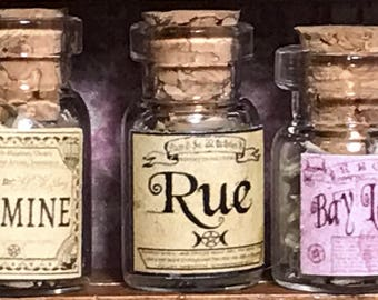 "Jar of RUE for a dollhouse, witch's herbs and poisons, dollhouse size, in a glass jar 1:12 1/12 1"", under 1"" tall, (simulated)"