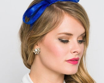 Mini Royal Blue Fascinator - Flitter-by Mesh Royal Blue Fascinator Headband