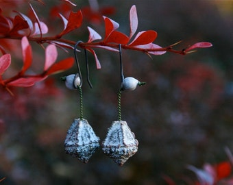nature gift for her - eucalyptus pod earrings - botanical jewelry - natural white drop dangle