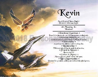 Airforce Name Meaning Origin Print Name Personalized Certificate 8.5 x 11 Inches Customized With Any Name