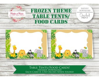 Jungle Table Tents - Jungle Party Food Cards - Jungle Party Favors - Frozen Party Supplies - INSTANT DOWNLOAD