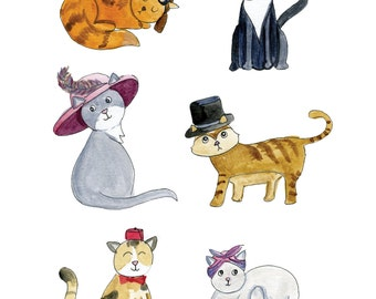 Cats in Hats print