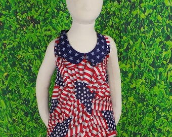 Girls 4th of July Outfit, Girls Short Set, Halter Top, Flag, Star, Red White Blue, Patriotic, Flat Front, Toddler, Teens, 4T, READY to SHIP