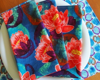 Asian Napkins with Lily Pad Flowers in Blue, Turquoise, Teal, Red, Purple, Michael Miller Koi Garden Blooming Lotus, Hostess Gift, Set of 4