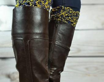 University of Michigan Boot Cuffs - Crochet Boot Toppers - Team Boot Cuffs - U of M Boot Cuffs - Fast Shipping -Michigan Bootcuffs
