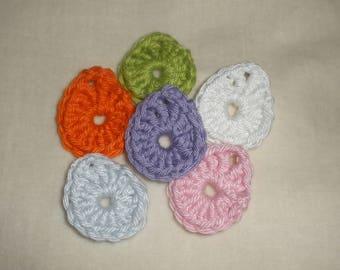 Set of six eggs applique crochet