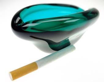 Ashtray glass ashtray ashtray turquoise
