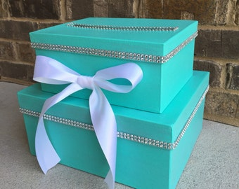 Robins Egg Blue Card Box Centerpiece (Mid-Size), Turquoise 2 Tier Shower or Birthday Card Holder