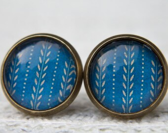 Blue Earrings,Blue and Beige, Vintage Style, Retro Earrings, Glass Dome Earrings, Small Studs, Stud Earrings, Post Earrings, Glass Cabochon