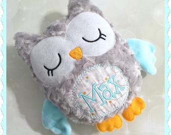 Personalized Owl Stuffie - Stuffed animal - Monogram owl - Plush Owl - Personalized Baby Gift - Baby Shower gift - New Baby