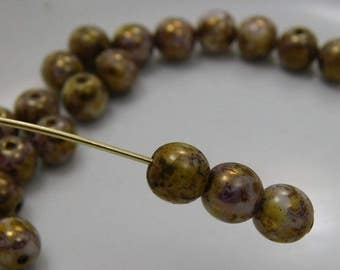 6mm Czech Druk Beads Round Transparent Stone Picasso (20pk) si-6DK-Stone