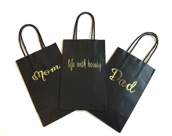 Personalized gift bags custom gift bags shower gifts personalized gift bags black custom gift bags shower gifts wedding favors kraft negle Image collections
