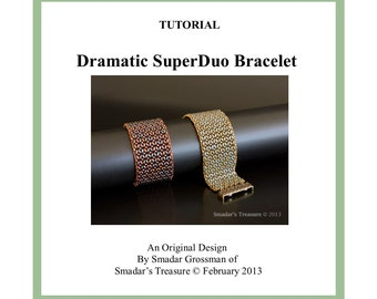 Beading Tutorial, Dramatic Superduo Bracelet. Beadweaving Pattern with Superduo or Twin Beads. Jewelry Making Pattern by Smadar Grossman
