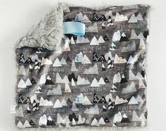 Grey Mountain Lovey, Minky Lovey, Faux Fur Lovey, Blue Lovey, Mountain Lovey, Adventure Lovey, Charcoal Lovey, Boy Lovey, Navy Lovey