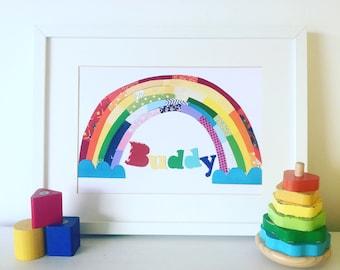 Personalised Rainbow Print, New Baby Print, Rainbow Artwork, Nursery Print, Children's Room, Wall Art, Play Room Artwork, Nursery Decor.