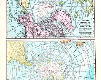 Vintage Map, Small 1921 Map - Arctic Regions, Antarctic Regions -  World Map Book Page - 10 x 7