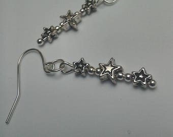 Tumbling Star earrings in silver
