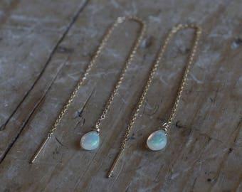 Natural Opal Thread Earrings