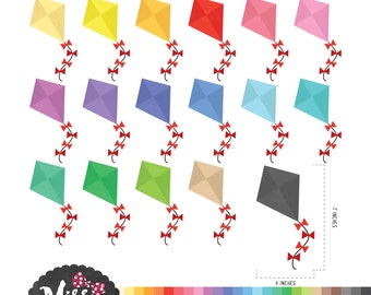 30 Colors Kites Clipart - Instant Download