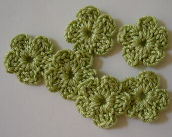 Crocheted Flowers - Lime Green Forget-Me-Nots - Cotton Flowers - Set of 6 - Crocheted Appliques - Crocheted Embellishments