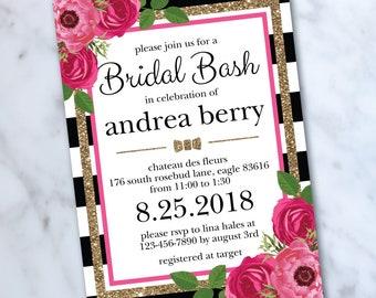 Bridal Shower Invitation - Kate Inspired Shower - Black and White - Stripes - Floral Invite - Digital File - Spade Shower - Custom
