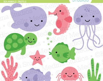 Sea Animals - Pastels - Clip Art Set - Digital Elements Commercial use for Cards, Stationery and Paper Crafts and Products
