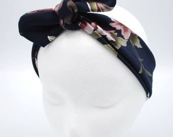 Dark Blue Floral Top knot baby headband, hair tie, head-wrap, one size fits all, baby bow, baby shower gift, adjustable size, Mommy & Me Set