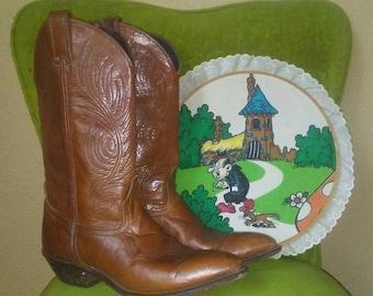 Vintage Copper Brown Code West Cowboy Boots Size 7.5