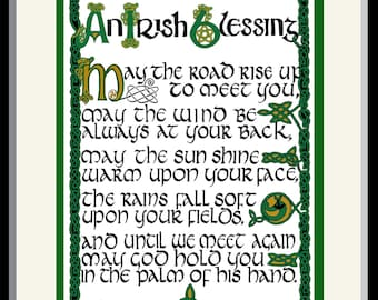 "Irish Blessing - Celtic hand lettering and design with never-ending braided border framed print 8"" x 10"" by Jacqueline Shuler"