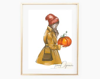 Fashion illustration print pumpkin fashion fall art decor autumn home decor print