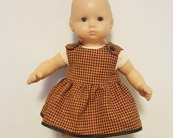 Bitty Baby Bitty Twin Doll Clothes - Orange and Black Plaid Dress