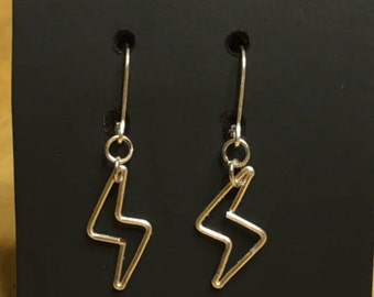 Lightning bolt wire earrings, with 925 sterling silver leverback ear wires