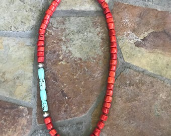 35 inch Large Red Coral and Turquoise Necklace