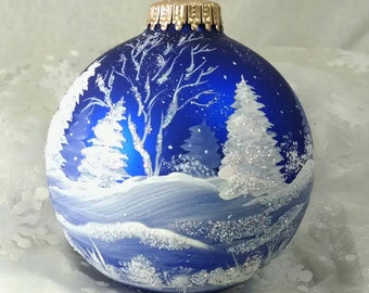Winter Scene,Blue, Winter Trees and Snow, Royal Blue Bulb, All Around Scene, Christmas Keepsake, Frosty, Free Inscription