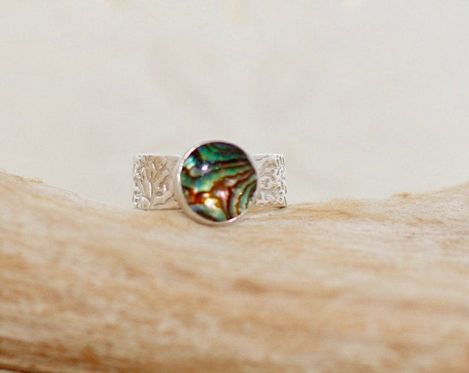 Fine Silver Ring With Coral Impression and 10mm SS Bezel Paua Shell Size 6