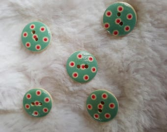 Varnished wood, Aqua buttons with red polka dots